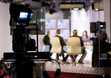 Recording Live talk show at television studio